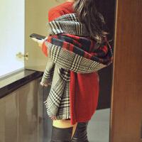 秋冬天大披肩格子两用保暖 围巾女士 双面加厚英伦围巾披肩外套