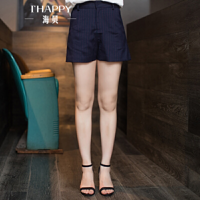 海贝秋季女士休闲短裤 竖条纹时尚宽松高腰短裤