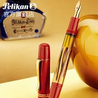 百利金Pelikan钢笔M101N特别收藏版红色玳瑁纹 蜥蜴纹14K金尖钢笔套装 礼盒
