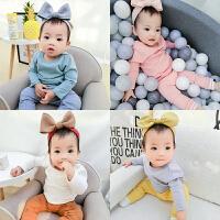 春秋女婴儿衣服1个月3男宝宝时尚T恤打底衫秋冬装睡衣冬季