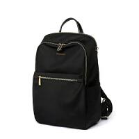 牛津布双肩包女电脑包简约时尚韩版旅行学院风尼龙书包小背包 黑色 小版
