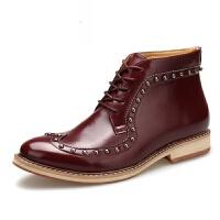 潮牌秋冬男士马丁靴靴子英伦商务休闲高帮皮鞋布洛克雕花潮靴