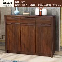 客厅玄关鞋柜实木框简约现代中式门厅柜大容量木质多功能大储物柜 组装