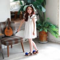 韩国童装儿童海边度假裙女童沙滩裙小女孩纯棉宽松短袖连衣裙海滩