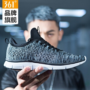 361男鞋运动鞋新款夏季轻便透气跑鞋361度一体针织轻便跑步鞋男子