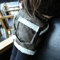 沫沫公主童装女童秋冬装新款 韩版迷彩羊羔毛儿童短裤靴裤