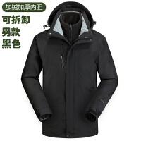 户外冲锋衣女三合一加绒加厚可拆卸两件套男冬季保暖抓绒登山服新品