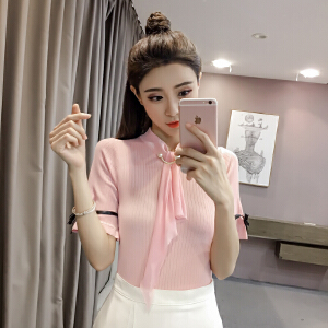 【班图诗妮】2018新品甜美蝴蝶结针织衫短袖学院风针织T恤女上衣春