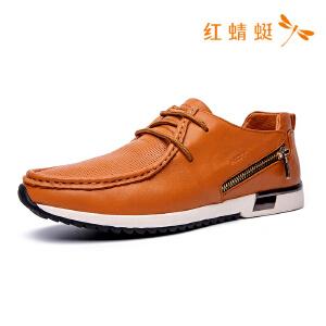 红蜻蜓男鞋春秋新款商务休闲圆头皮鞋时尚单鞋真皮