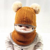 儿童帽子加绒加厚保暖毛线帽户外童女童宝宝围脖护脸帽
