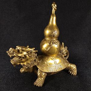 龙龟福葫芦铜摆件