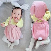 婴儿裤子春季宝宝背带裤0岁6个月新生儿冬装春款春季外出
