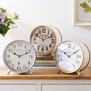 奇居良品 美式复古客厅书房书桌家居装饰钟表摆件桌面座钟 多款