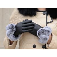 户外运动女羊皮手套女兔毛保暖羊皮手套女士加厚绒里绵羊皮开车手套