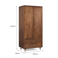 实木衣柜北欧小户型家用两门衣橱日式双门衣柜卧室家具组装 2门