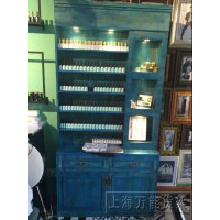 实木复古指甲油展柜美甲店展示柜甲油胶产品柜子美甲化妆品柜货架