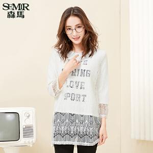 森马长袖T恤 2017春季新款 女士假两件直筒圆领套头蕾丝上衣韩版