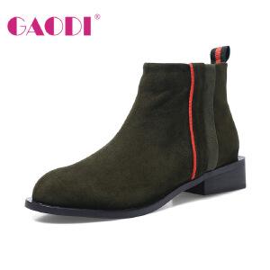 高蒂马丁靴2017冬季新款小皮靴英伦风方跟羊皮短靴圆头短筒靴子女