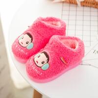 冬季棉拖鞋大头儿子拖鞋女包跟厚底可爱澳羊绒卡通拖鞋