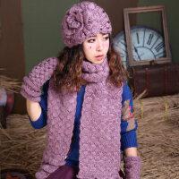 三件套花朵针织毛线帽贝雷帽围脖保暖套装潮韩版纯色帽子围巾手套