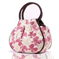民族风包包复古休闲女士小手提包时尚印花帆布包手拎包中年女包潮