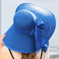 帽子女沙滩帽遮阳草帽大沿可折叠夏季防晒太阳帽出游海边度假帽 均码