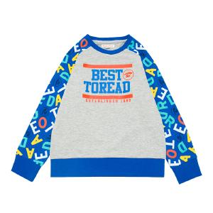 探路者童装 男童女童旅行插肩袖外套印花圆领儿童卫衣TGWK15501