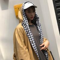 秋装女装韩版原宿风宽松bf格子拼接连帽中长款风衣外套学生大衣潮 均码