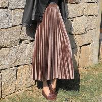 半身裙 女士时尚中长款金丝绒半身裙2020秋冬新款女式高腰显瘦大摆长裙裙子