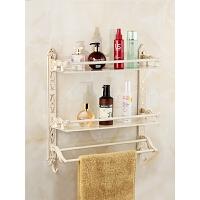 欧式毛巾架卫生间置物架壁挂白色描金卫浴挂件洗手间卫浴五金挂件毛巾架