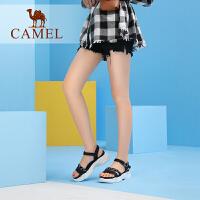 camel骆驼女鞋2019夏季新款舒适百搭厚底中跟凉鞋女平底真皮休闲凉鞋女