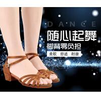 拉丁舞鞋儿童女孩练功鞋成人广场舞中跟凉鞋恰恰演出鞋舞蹈鞋