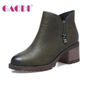 高蒂马丁靴女英伦风粗跟小皮靴新款牛筋底套筒短靴圆头高跟靴子女