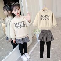 韩版时尚超洋气加绒加厚裙裤两件套潮衣女童套装裙秋冬装