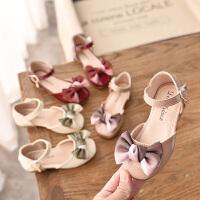 春夏女童蝴蝶结公主鞋韩版单鞋软底包头凉鞋女孩皮鞋演出鞋子