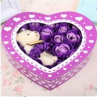 浪漫礼品毛绒小熊心形玫瑰香皂花(20朵)--紫色