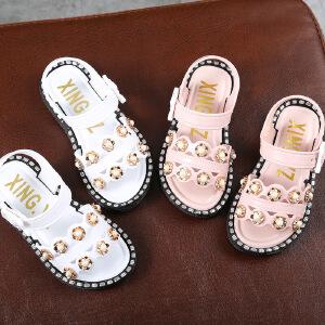 儿童凉鞋 夏季新款韩版女童凉鞋时尚韩版外穿带钻软底女孩公主鞋儿童沙滩鞋