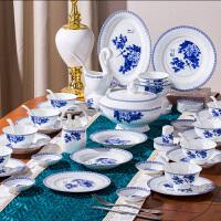 青花瓷碗套装碗碟套装家用中式景德镇陶瓷碗盘子碗盘饭碗骨瓷餐具 花开富贵豪华68头 釉中彩,可微波