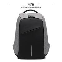 双肩包男士商务电脑包韩版时尚帆布包男休闲旅行双肩背包 灰色