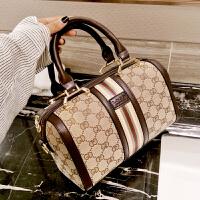 新款女包手提包欧美时尚单肩斜挎圆桶包枕头包帆布大包