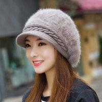 韩版潮兔毛纯色鸭舌帽贝雷帽保暖毛线百搭帽子女