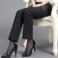中老年棉裤 女士加绒加厚棉裤2020冬季女式大码松紧高腰绣花保暖裤休闲奶奶装裤子