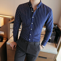 长袖衬衫韩版修身免烫寸衣青年商务正装寸衫咖啡厅工装大码男衬衣