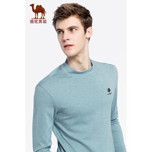 【12.12狂欢节】骆驼男装 2018秋季新款青年日常休闲上衣纯色立领微弹长袖T恤男