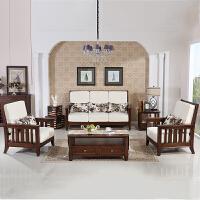 小美式实木沙发客厅家具 北美红橡木单人三人实木沙发