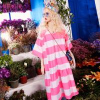 【清仓价:125】【再享满499减50券】妖精的口袋元气烹制女新款V领条纹纯棉连衣裙中长裙子