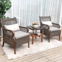户外家具花园桌椅组合藤编庭院阳台茶几休闲藤椅三件套件
