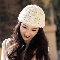 女士帽子时尚新款潮韩版百搭秋冬季蕾丝包头镂空针织毛线帽女