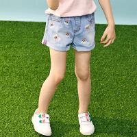 【2件3折价:87】小猪班纳童装女童牛仔短裤卡通中大童2020夏季新款