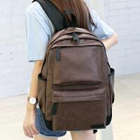 新款PU双肩包 韩版男女复古潮流背包初高中学生书包旅行背包